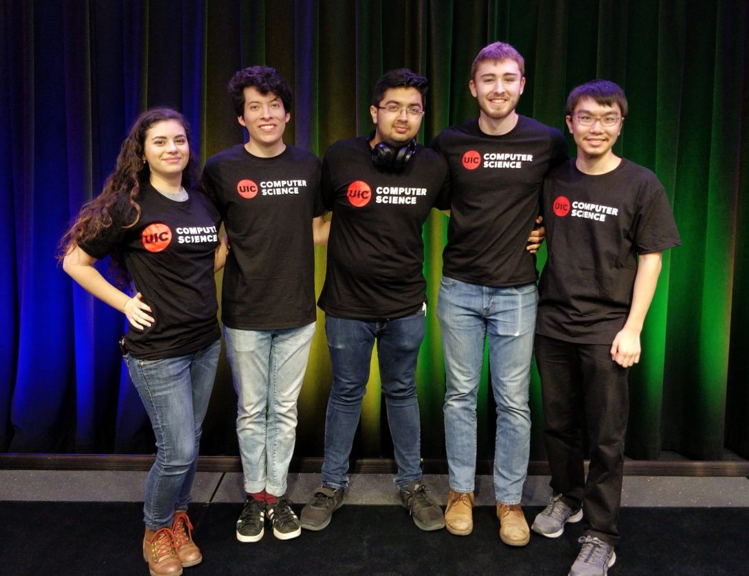 computer science students in UIC t-shirts