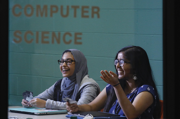 students in the Women in Computer Science room
