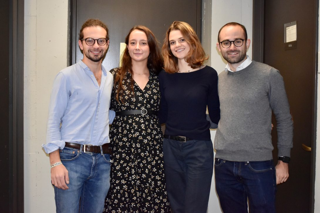 Part of the winning UIC Builtworlds Hackathon team: (L-R) Francesco Sgherzi, Giulia Soresini, Chiara Gambacorta, and Riccardo Pressiani