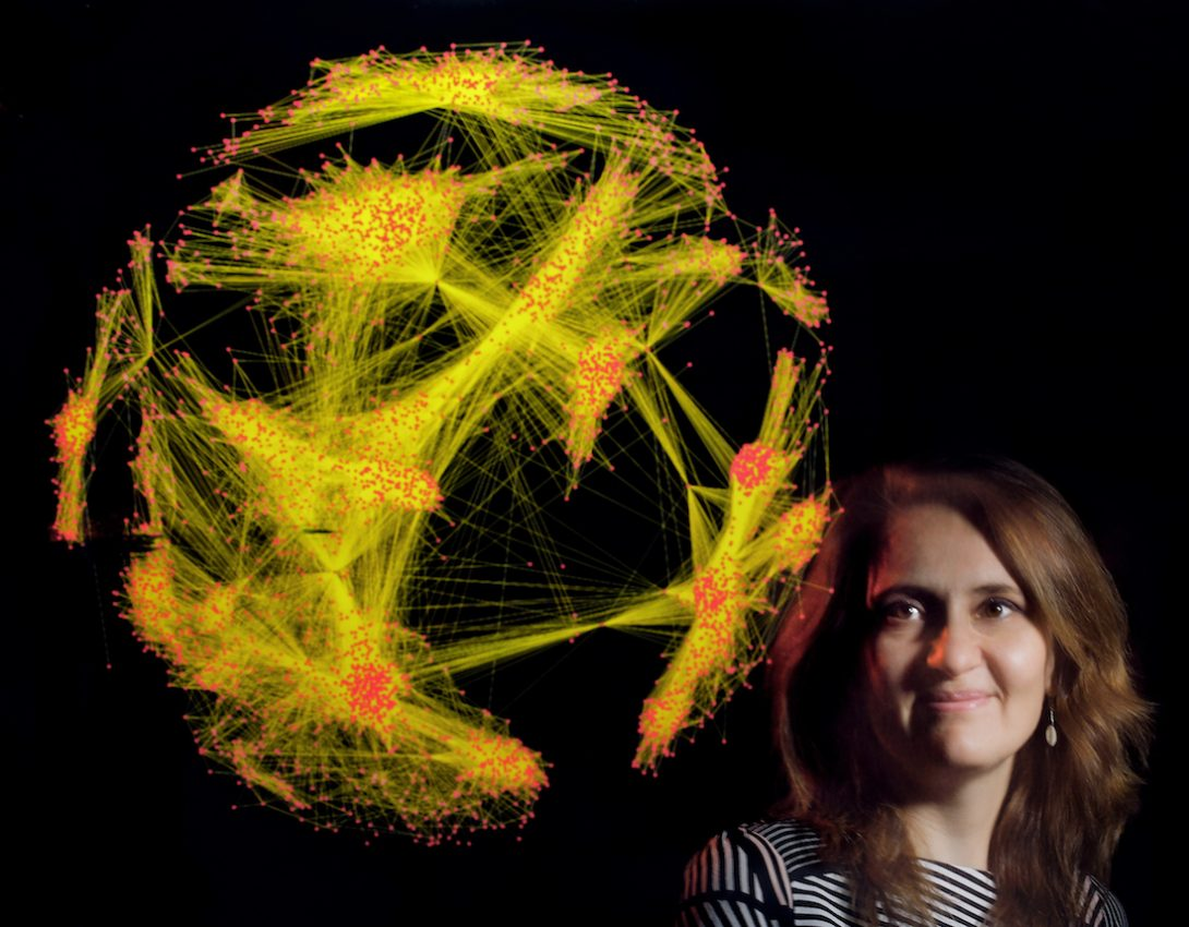 Elena Zheleva, UIC computer science department faculty, with a data visualization